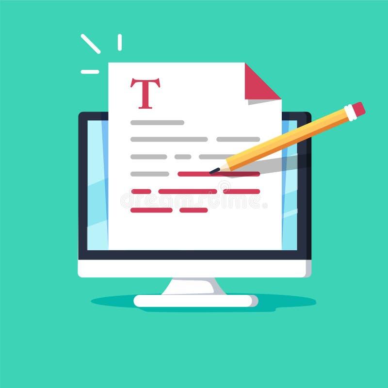 On-line-Bildung, kreatives Schreiben und Geschichtenerzählen, copywriting Konzept, Textdokument redigierend, entferntes Lernen lizenzfreie abbildung