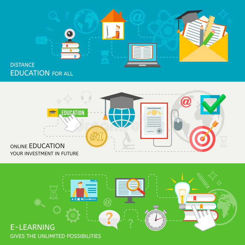 On-line-Bildungs-Fahne lizenzfreie abbildung