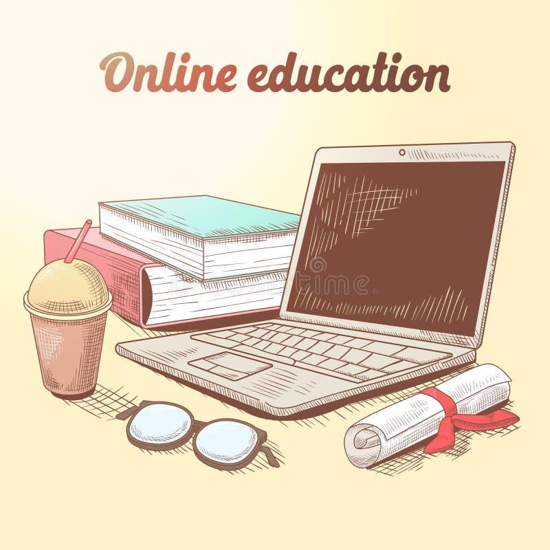 On-line-Bildungs-Hand gezeichnetes Konzept E-Learning mit Laptop und Büchern lizenzfreie abbildung