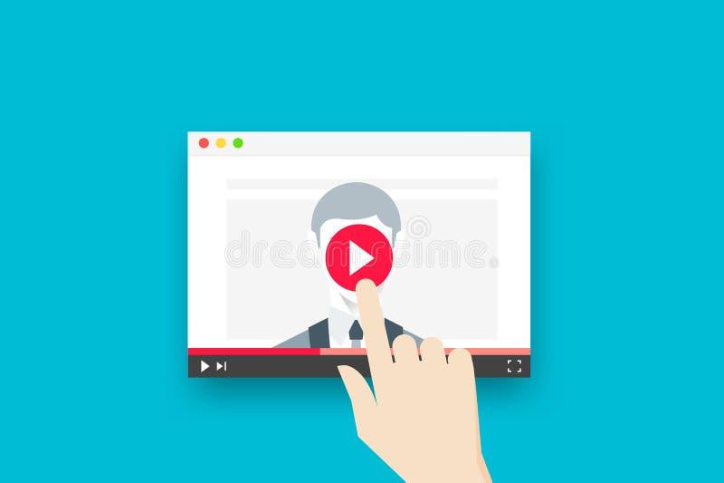 On-line-Bildungs-Illustration mit abstraktem web- browserund Geschäfts-Trainer On Video Player Flaches Vektorkonzept vektor abbildung