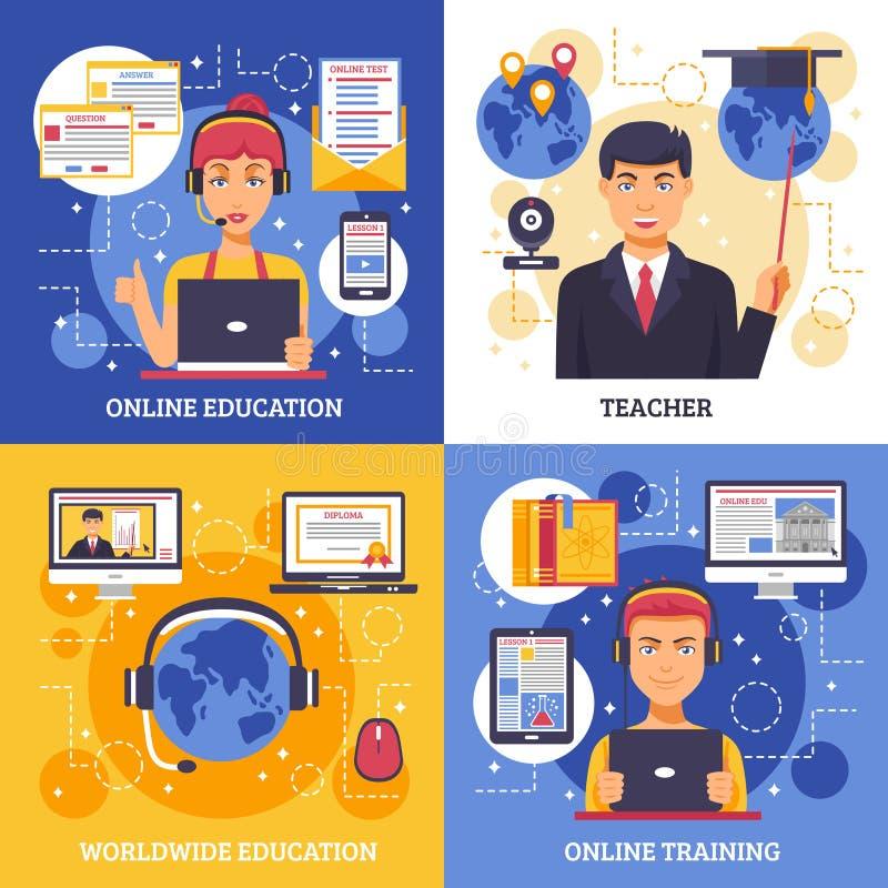 On-line-Bildungs-Trainings-Konzept des Entwurfes lizenzfreie abbildung