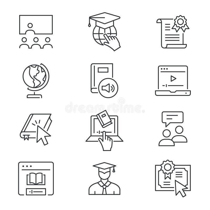 On-line-Bildungslinie Ikonen eingestellt Schwarze Vektorillustration Editable Anschlag stock abbildung