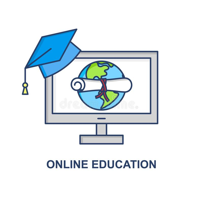 On-line-Bildungsvektorkonzept E-Learning-Fahnenzeichen Internet-Schulillustration Staffelungsdiplomkonzept vektor abbildung