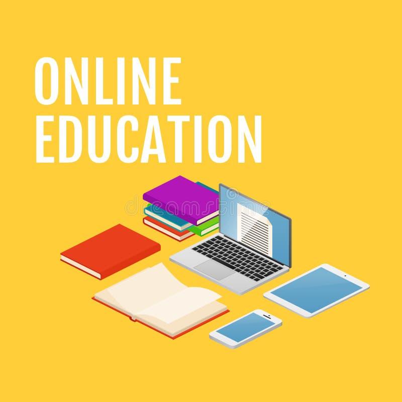 On-line-Bildungsvektorkonzept Isometrischer Laptop, Telefon, Bücher vektor abbildung