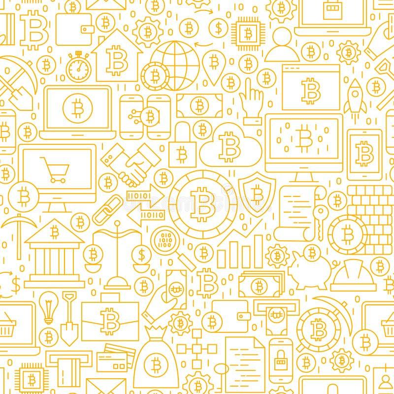 Line Bitcoin White Seamless Pattern stock image