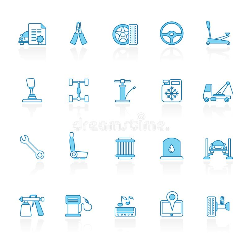 Line with blue background Auto service and car part icons stock illustration