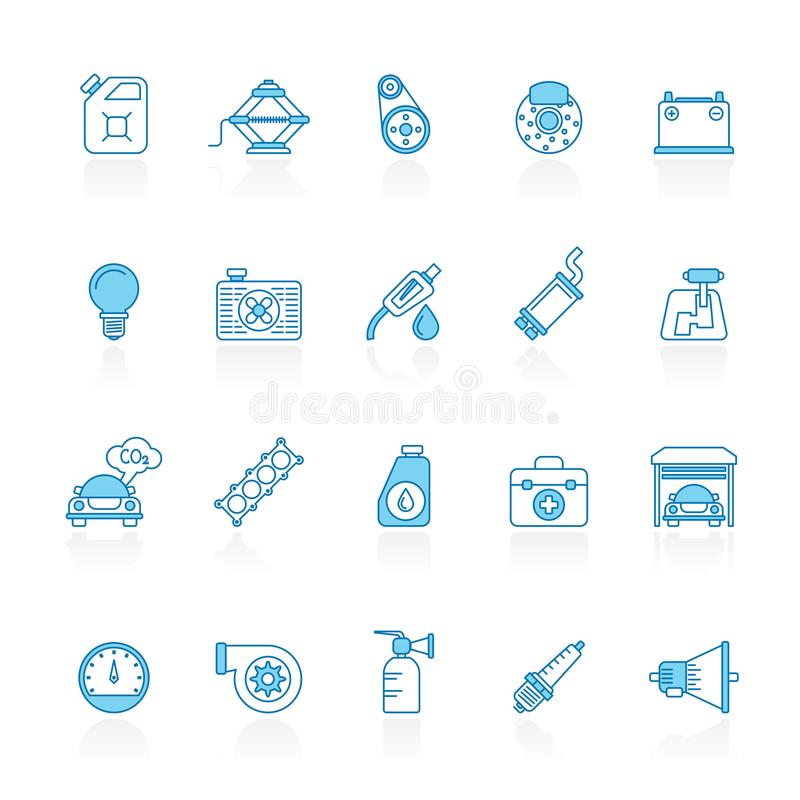 Line with blue background Auto service and car part icons royalty free illustration
