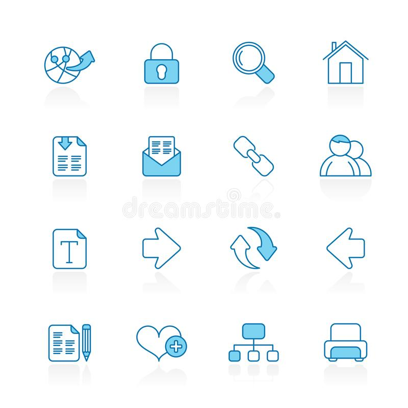 Line with blue background Internet and Web Navigation Icons royalty free illustration
