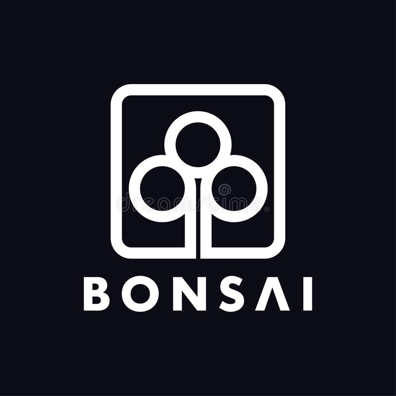 Line bonsai abstract logo design template royalty free illustration