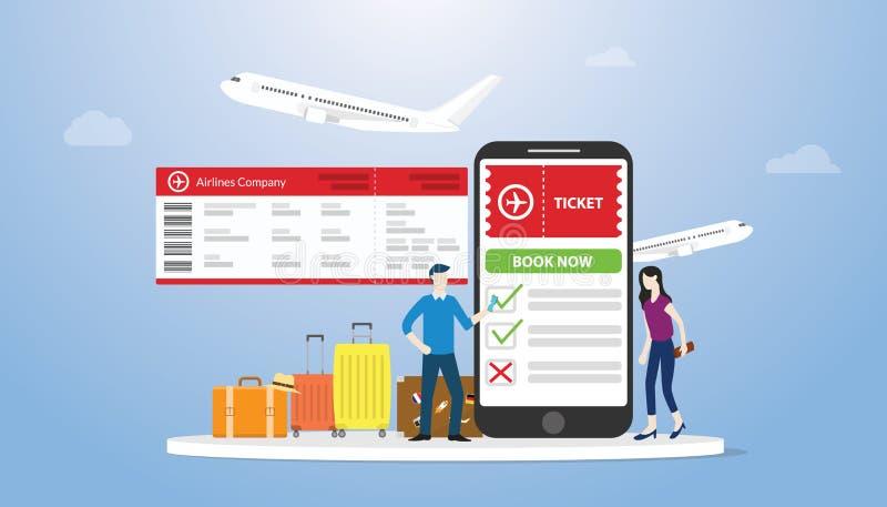 On-line-Buch oder Buchungskarten für airflight Konzept mit Smartphone App und etwas Gepäck mit Leuteauftrags-on-line-Karte mit stock abbildung