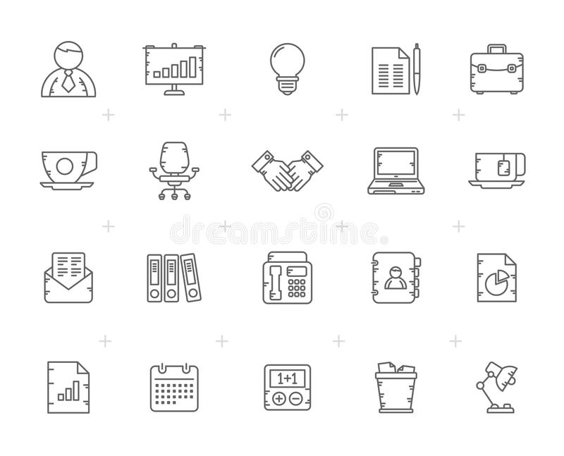 Line Business and office Equipment Icons royalty free illustration
