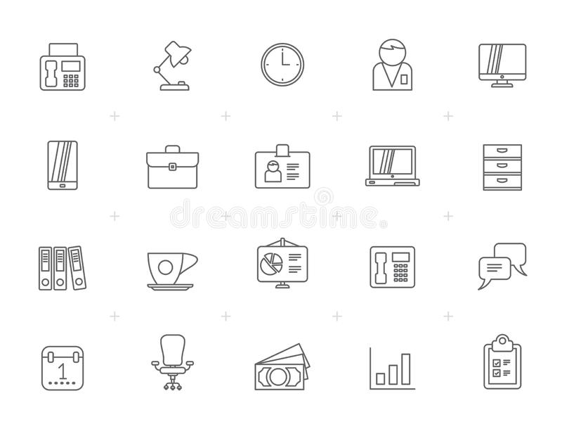 Line Business and office, equipment icons. Vector icon set stock illustration