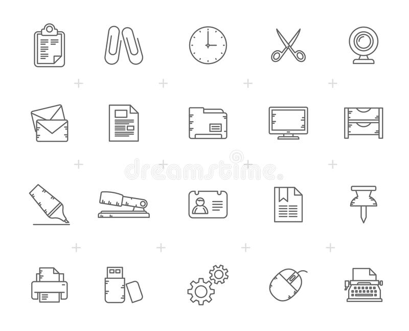 Line Business and office Equipment Icons stock illustration