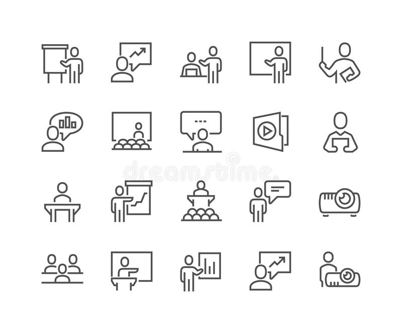 Line Business Presentation Icons royalty free illustration