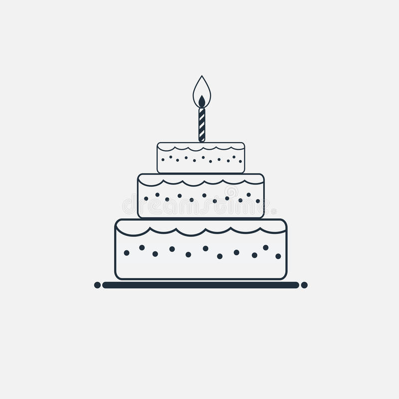 Line Cake Icon Minimal Flat Style Stock Vector Illustration Of