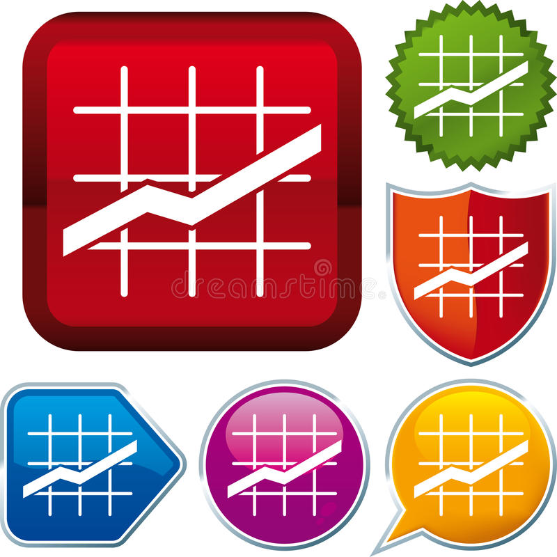 Line chart icon. On different buttons (vector stock illustration