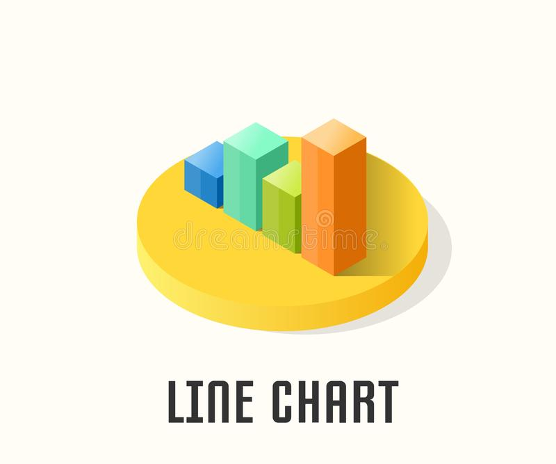 Line Chart icon, vector symbol. Line Chart icon, vector symbol in isometric style isolated on white background royalty free illustration