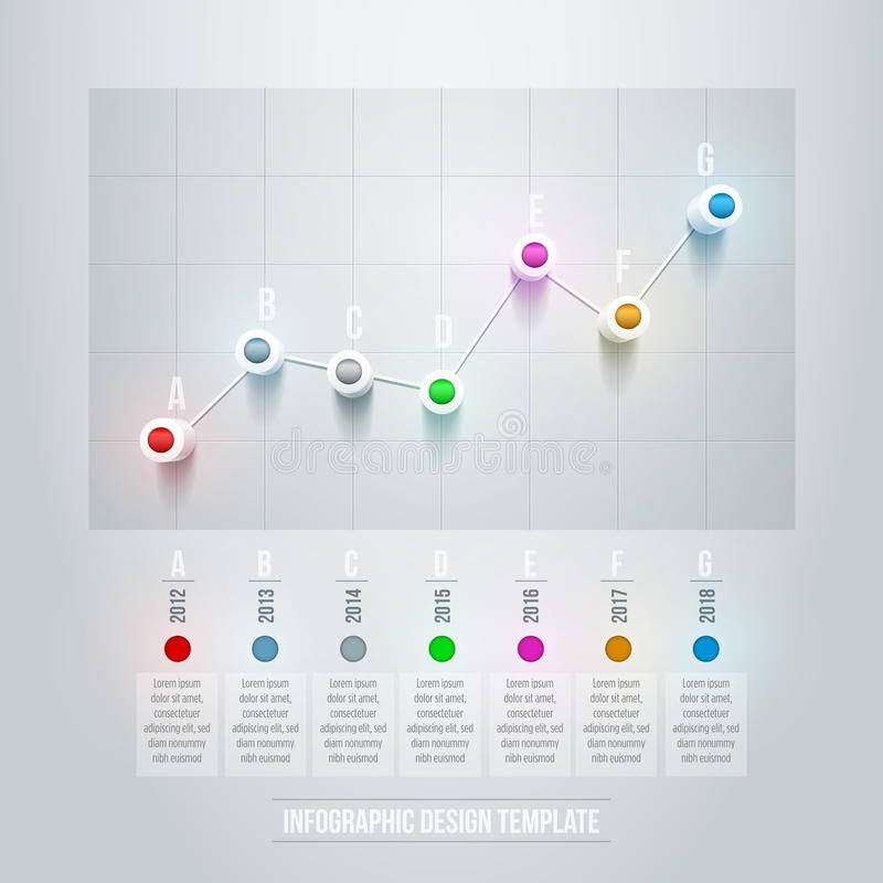 Line Chart Infographic. Vector 3d line chart infographic design template. Elements are layered separately in vector file stock illustration