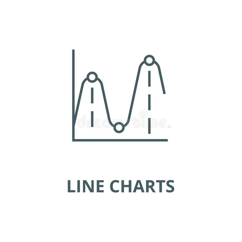 Line charts,frequency graphs vector line icon, linear concept, outline sign, symbol stock illustration