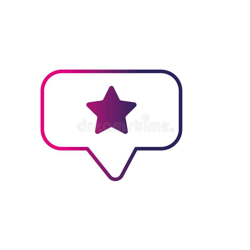Line chat bubble with star design inside stock illustration