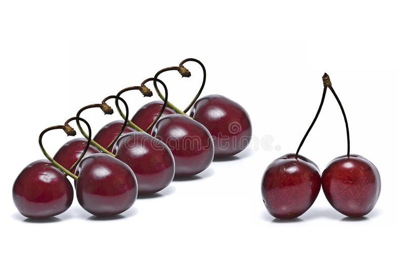 Download A line of cherry hearts. stock photo. Image of organic - 14858920