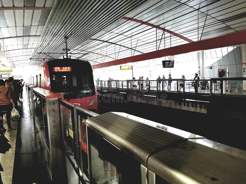 Line 2, Chongqing Rail Transit. China`s first ALWEG-type monorail system officially opened on June 18, 2005 in Chongqing, China. The monorail serves the main stock image