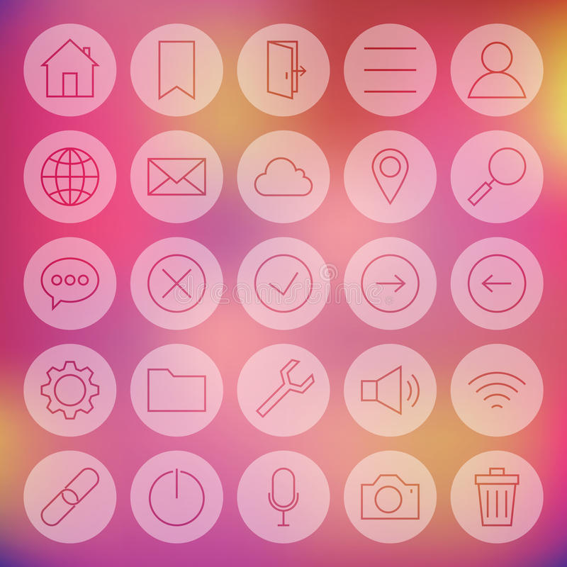 Line Circle Universal Web and Mobile User Interface Icons Set. Vector Set of Modern Thin Line Icons for Web and Mobile Circle Shaped over Colorful Blurred vector illustration