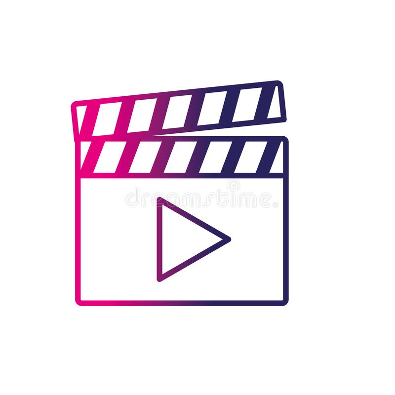 Line clapperboard with video movie studio icon. Vector illustration royalty free illustration