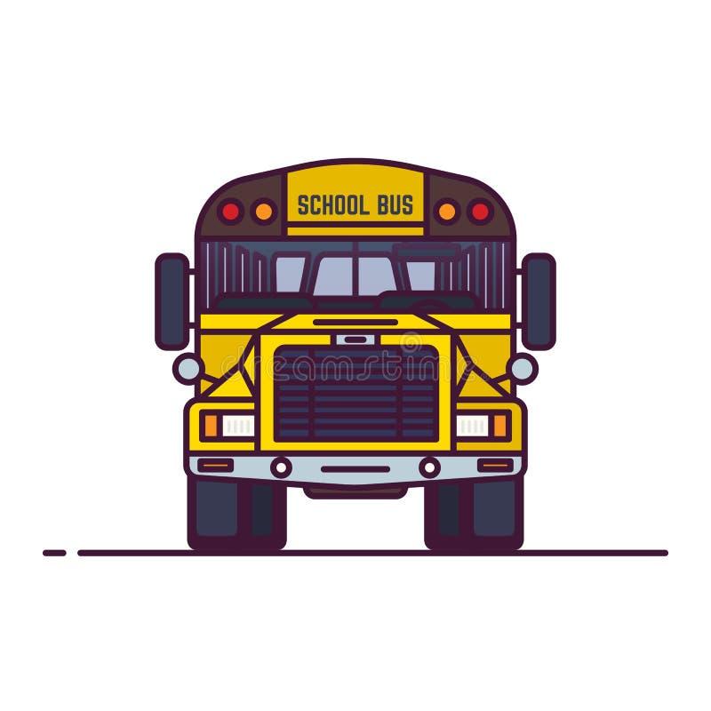 Line classic yellow school bus stock illustration