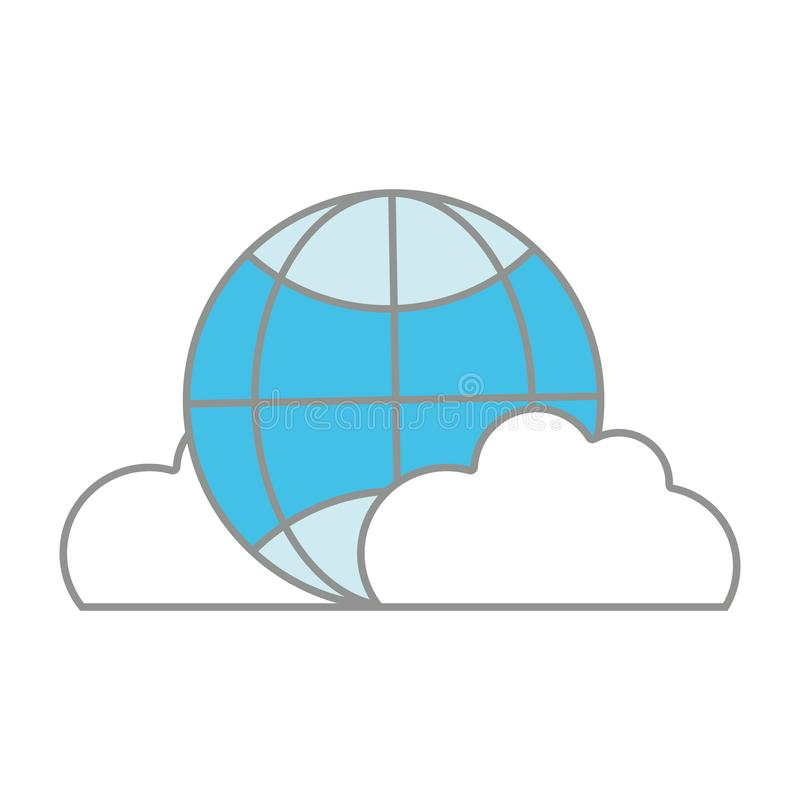 Line color global connection technology with clouds icon vector illustration