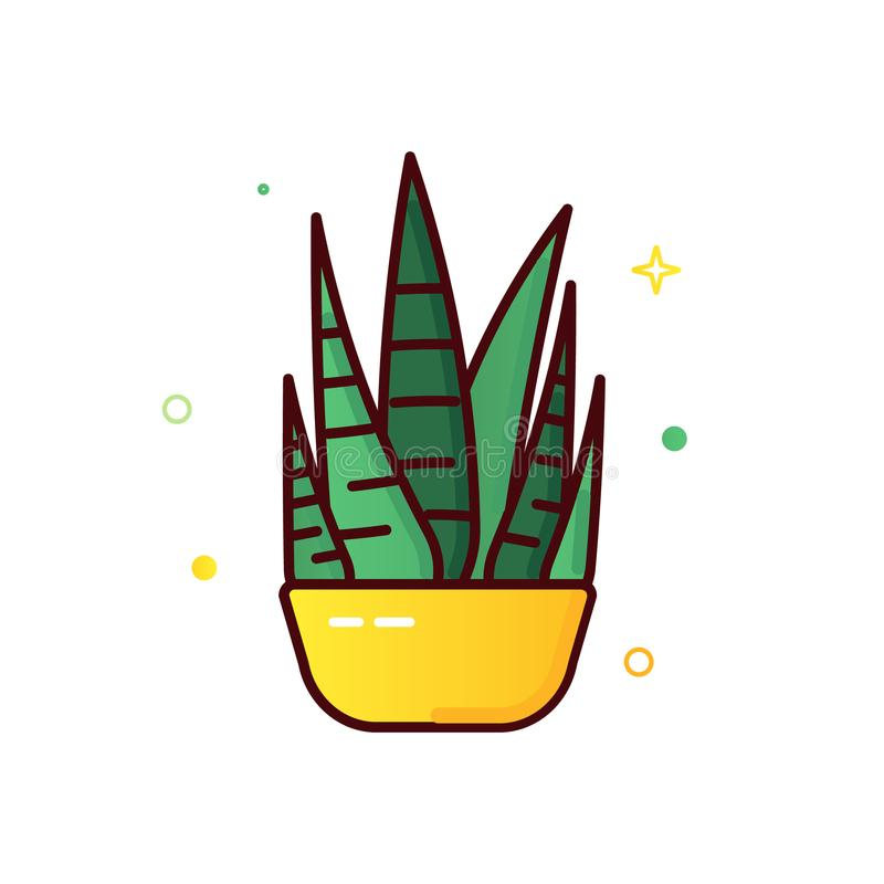 Line color icons of cactus royalty free illustration