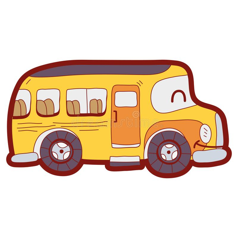 line color kawaii smile school bus transport stock vector rh dreamstime com Spring School Bus Clip Art Girl School Bus Clip Art