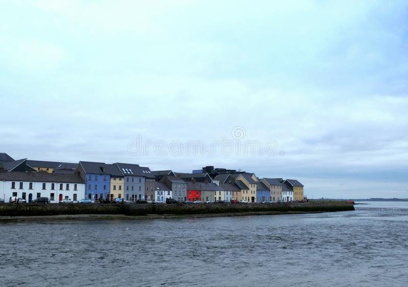 Colorful houses on the Galway seaside royalty free stock image