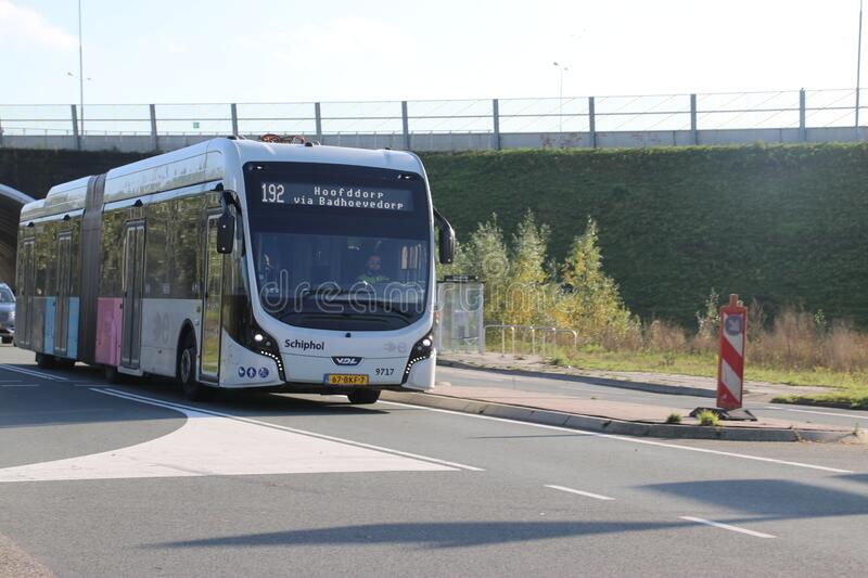 Line 192 of connexxion at Badhoevedorp for fast bus network around amsterdam schiphol airport with electric buses royalty free stock photo
