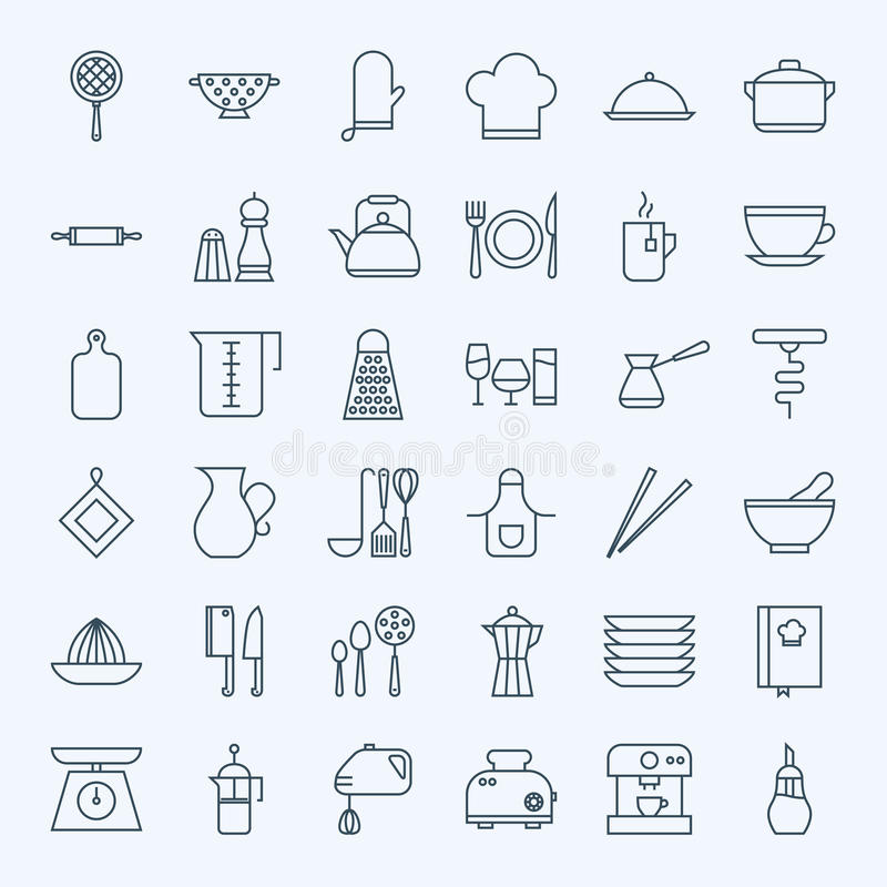 Line Cooking Utensils and Kitchenware Icons Set stock illustration