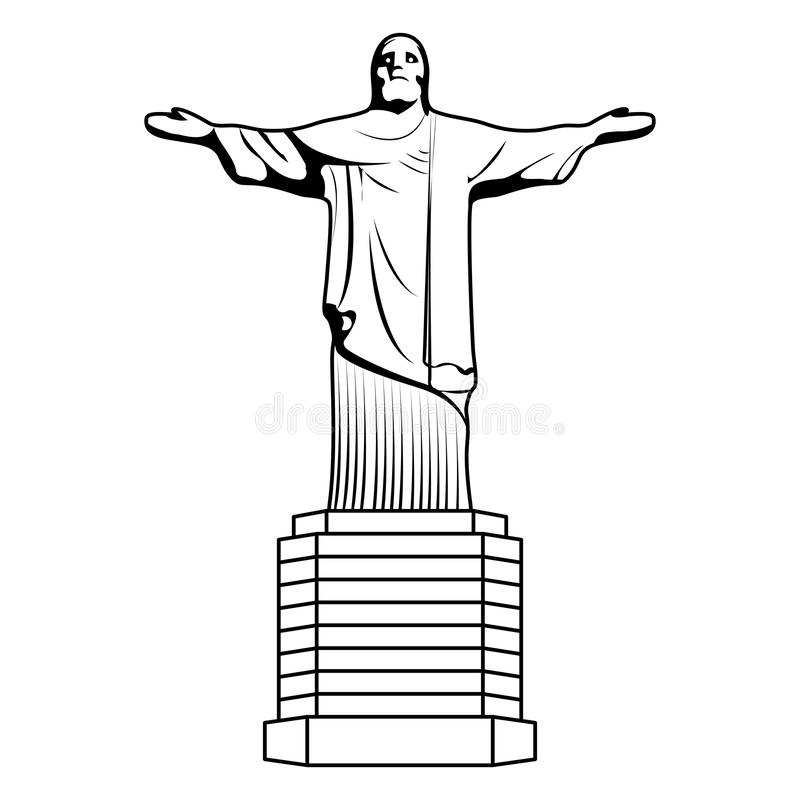 Line cristo religion statue history sculpture. Vector illustration royalty free illustration