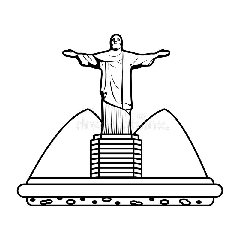 Line cristo religion statue with mountains landscape. Vector illustration stock illustration