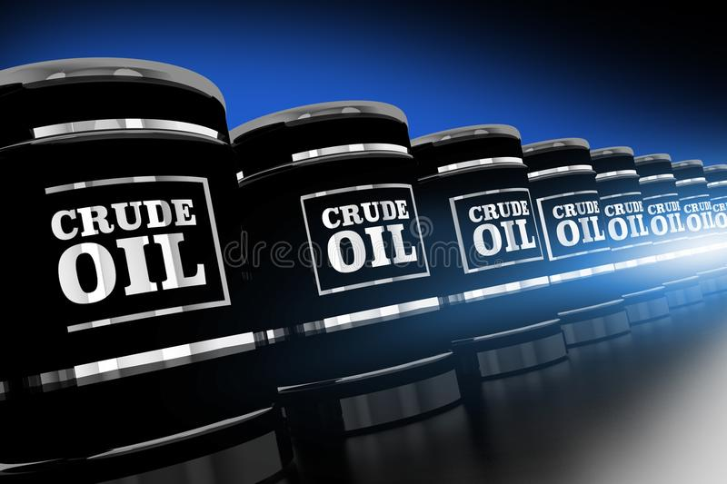 Line of Crude Oil Barrels. 3D Rendered Illustration. Black and Chrome Oil Barrels stock images
