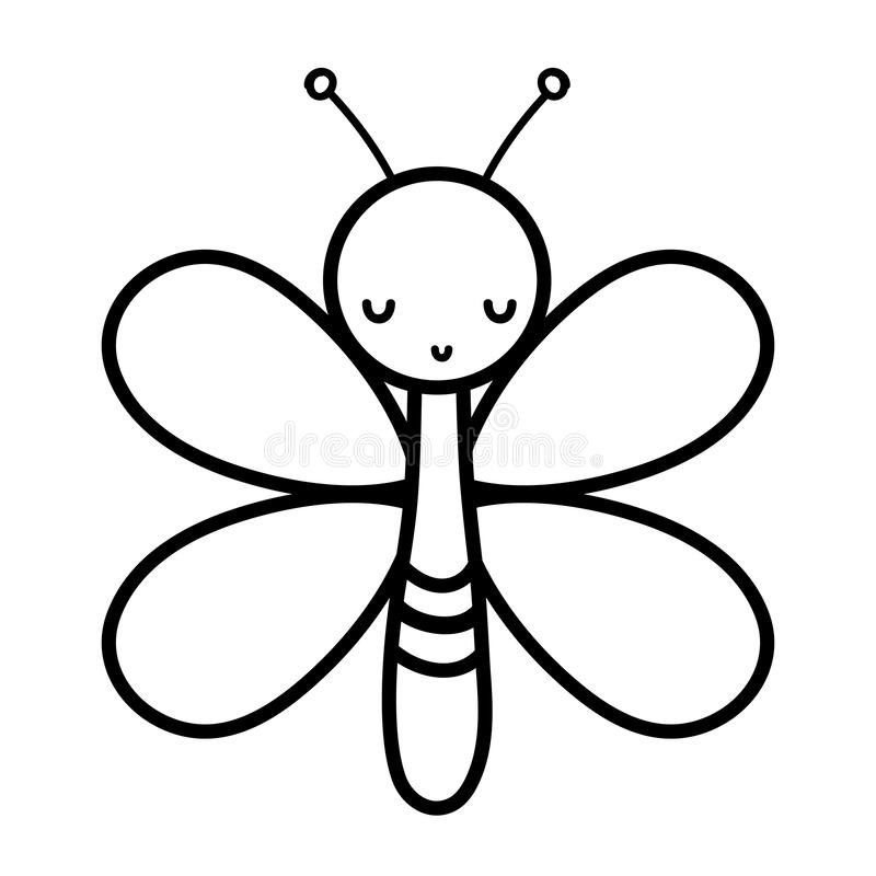 Line cute butterfly insect animal with wings. Vector illustration vector illustration