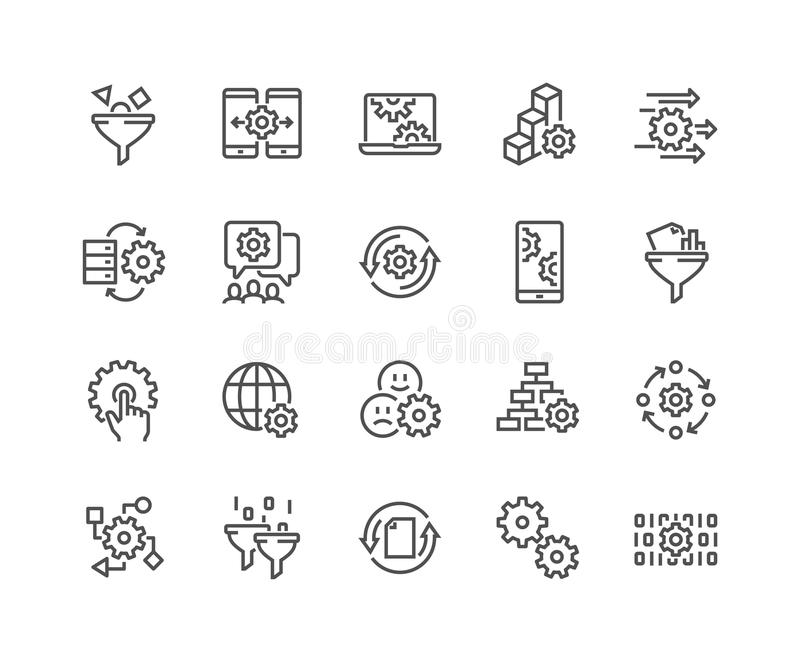 Line Data Processing Icons. Simple Set of Data Processing Related Vector Line Icons. Contains such Icons as Filter, Gear, Scheme and more. Editable Stroke. 48x48 vector illustration