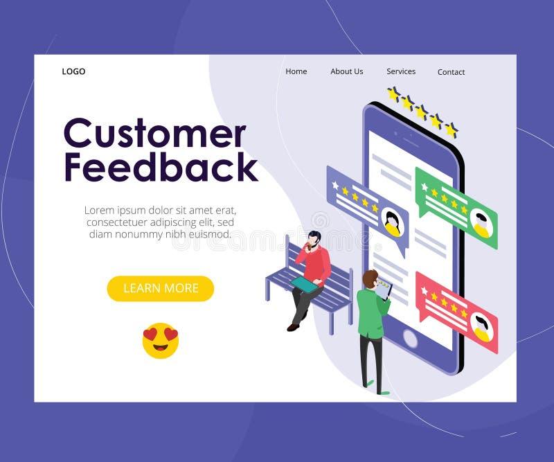 On-line-Daten-Kundenfeedback-Bewertungs-Vektor-Entwurf lizenzfreie abbildung