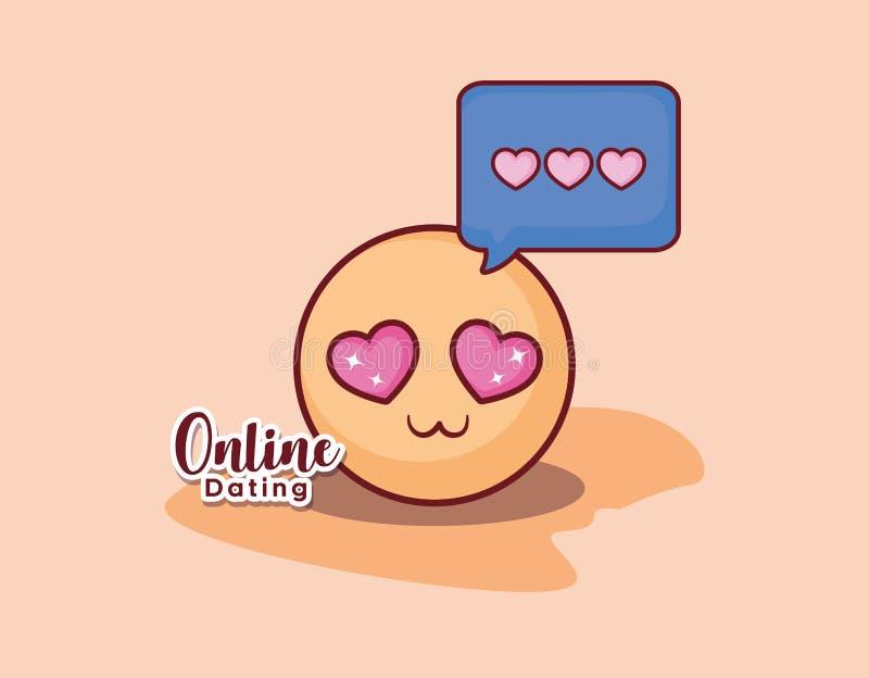 On-line-Datierung der Romanze Mitteilung der Emoticongesichtsliebe lizenzfreie abbildung