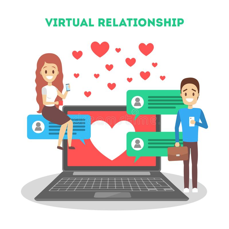 On-line-Datierungsapp Virtuelles Verh?ltnis und Liebe stockfotografie