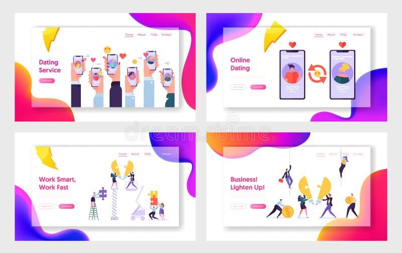 On-line-Datierungsservice-und Geschäfts-Team, Website-Landungs-Seiten-Schablonen-Satz Bewegliche Anwendung für das Leute-Plaudern stock abbildung