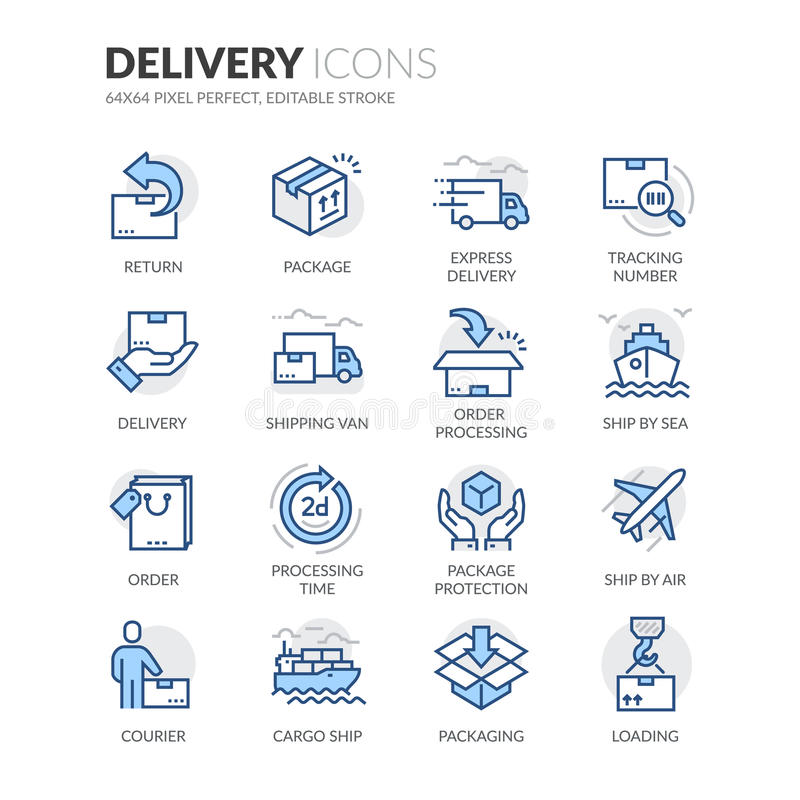 Free Line Delivery Icons Royalty Free Stock Photo - 72794035