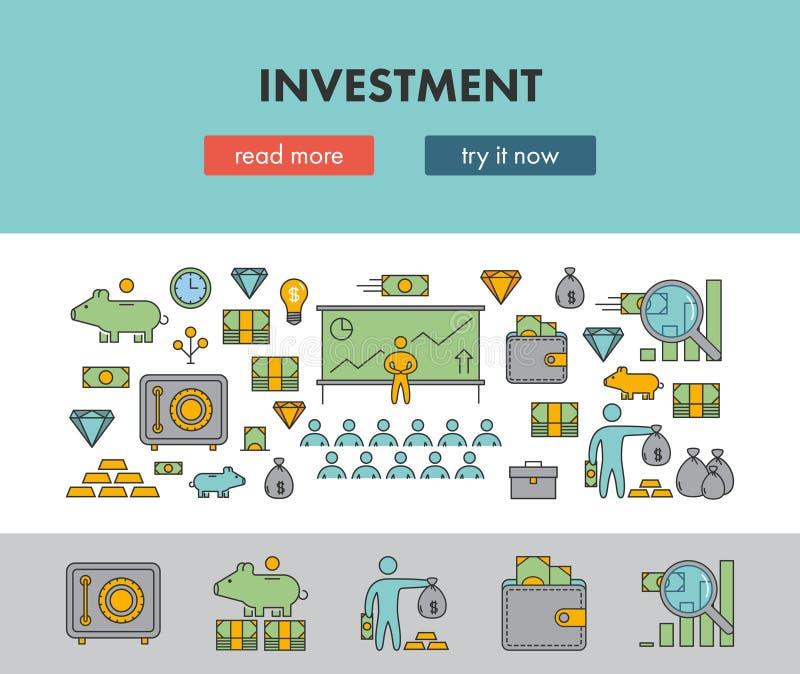 Line design concept horizontal banner for investment vector illustration