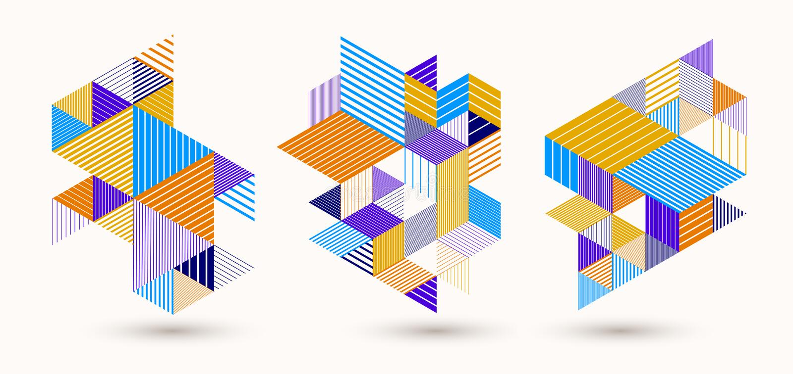 Line design 3D cubes and triangles abstract backgrounds set, polygonal low poly isometric retro style templates. Stripy graphic royalty free illustration