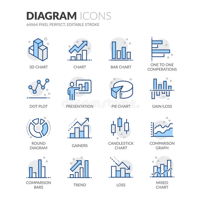 Line Diagram Icons. Simple Set of Graph and Diagram Related Color Vector Line Icons. Contains such Icons as Presentation, Pie Chart, Round Diagram, Candlestick vector illustration