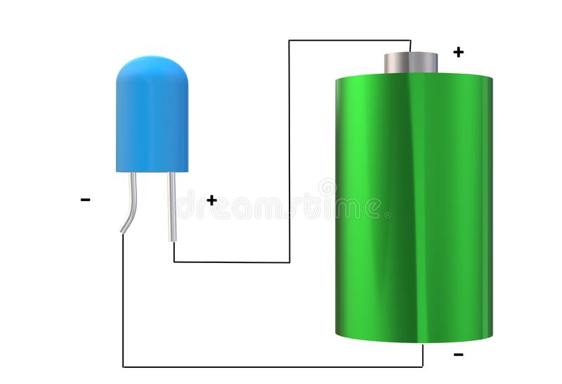 A line diagram of a light emitting diode and a battery. A computer generated illustration image of an electrical line diagram of a blue light emitting diode and royalty free illustration