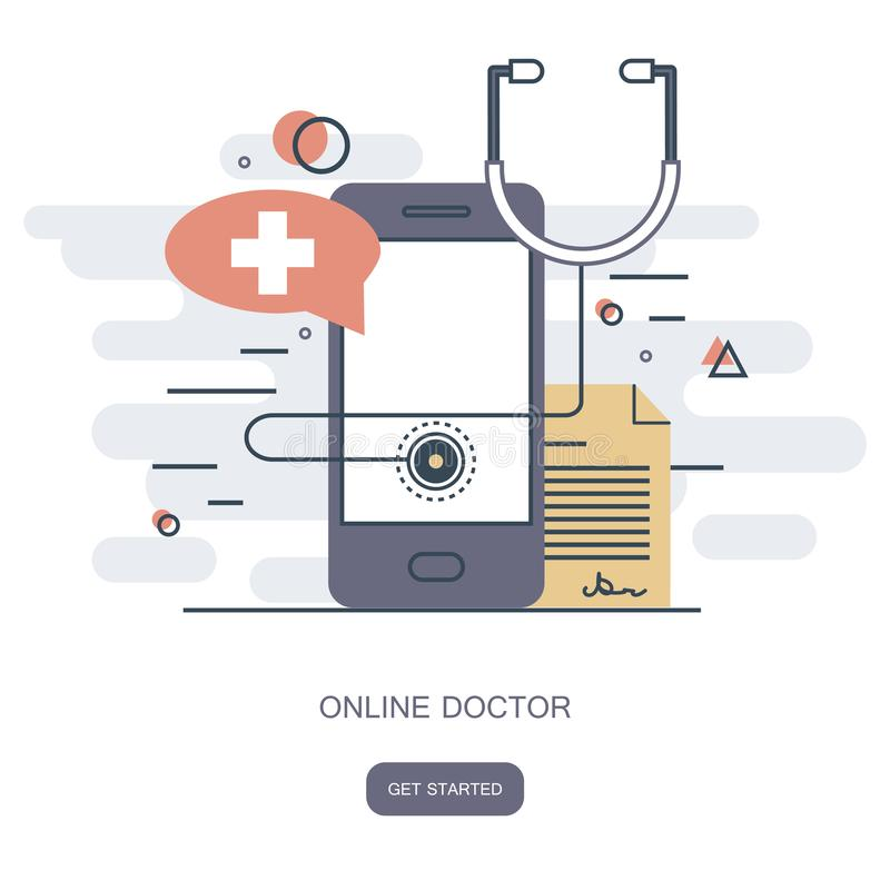 On line doctor concept. On line medical consultation. Flat vector. Illustration stock illustration